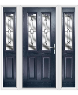 The Birmingham Composite Door in Blue with Crystal Bohemia and matching Side Panels