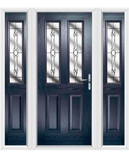 The Cardiff Composite Door in Blue with Crystal Bohemia and matching Side Panels
