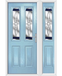 The Aberdeen Composite Door in Blue (Duck Egg) with Blue Crystal Harmony and matching Side Panel