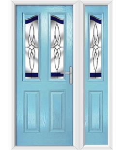 The Birmingham Composite Door in Blue (Duck Egg) with Blue Crystal Harmony and matching Side Panel