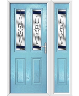 The Cardiff Composite Door in Blue (Duck Egg) with Blue Crystal Harmony and matching Side Panel