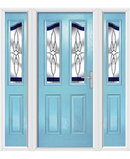 The Birmingham Composite Door in Blue (Duck Egg) with Blue Crystal Harmony and matching Side Panels
