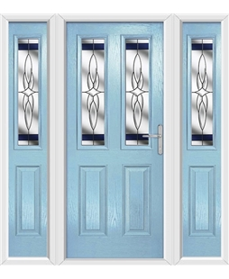 The Cardiff Composite Door in Blue (Duck Egg) with Blue Crystal Harmony and matching Side Panels