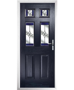 The Oxford Composite Door in Blue with Blue Crystal Harmony