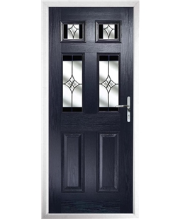 The Oxford Composite Door in Blue with Black Crystal Harmony