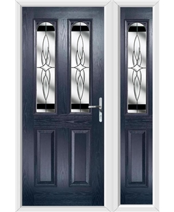 The Aberdeen Composite Door in Blue with Black Crystal Harmony and matching Side Panel