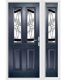 The Birmingham Composite Door in Blue with Black Crystal Harmony and matching Side Panel