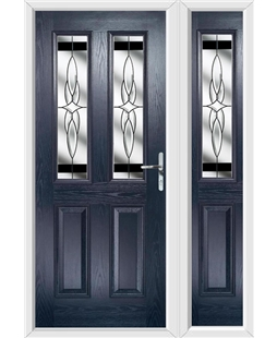 The Cardiff Composite Door in Blue with Black Crystal Harmony and matching Side Panel