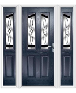 The Birmingham Composite Door in Blue with Black Crystal Harmony and matching Side Panels