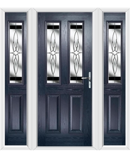 The Cardiff Composite Door in Blue with Black Crystal Harmony and matching Side Panels