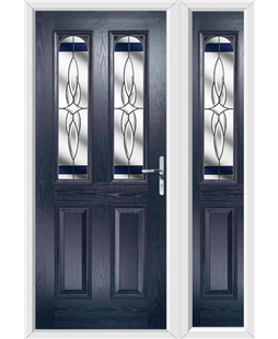 The Aberdeen Composite Door in Blue with Blue Crystal Harmony and matching Side Panel