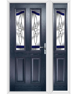 The Birmingham Composite Door in Blue with Blue Crystal Harmony and matching Side Panel