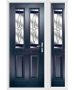 The Cardiff Composite Door in Blue with Blue Crystal Harmony and matching Side Panel
