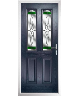 The Aberdeen Composite Door in Blue with Green Crystal Harmony