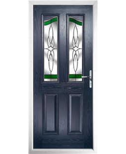 The Birmingham Composite Door in Blue with Green Crystal Harmony