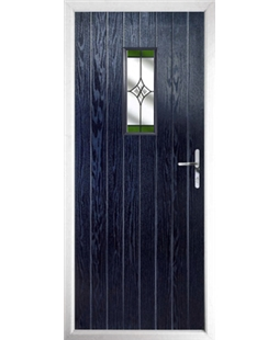 The Taunton Composite Door in Blue with Green Crystal Harmony