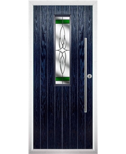 The York Composite Door in Blue with Green Crystal Harmony