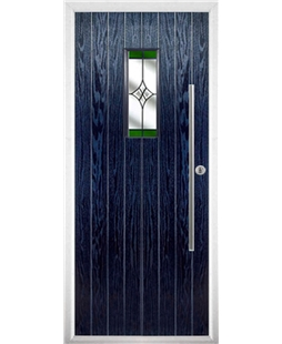 The Zetland Composite Door in Blue with Green Crystal Harmony