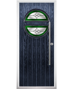 The Xenia Composite Door in Blue with Green Crystal Harmony