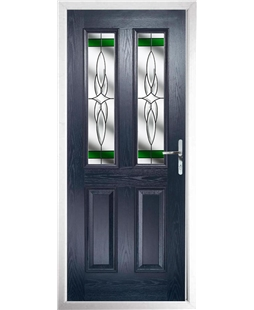 The Cardiff Composite Door in Blue with Green Crystal Harmony
