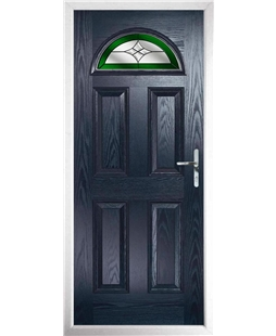 The Derby Composite Door in Blue with Green Crystal Harmony