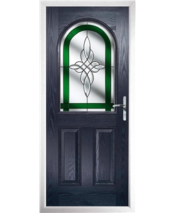 The Edinburgh Composite Door in Blue with Green Crystal Harmony