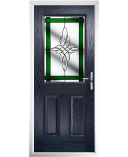 The Farnborough Composite Door in Blue with Green Crystal Harmony