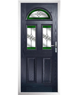 The Glasgow Composite Door in Blue with Green Crystal Harmony
