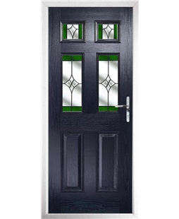 The Oxford Composite Door in Blue with Green Crystal Harmony