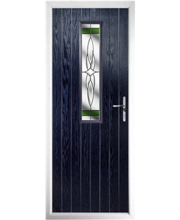 The Sheffield Composite Door in Blue with Green Crystal Harmony