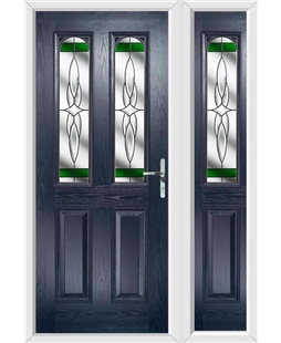 The Aberdeen Composite Door in Blue with Green Crystal Harmony and matching Side Panel