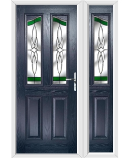 The Birmingham Composite Door in Blue with Green Crystal Harmony and matching Side Panel
