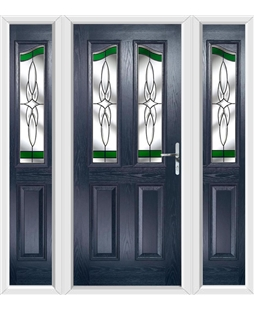 The Birmingham Composite Door in Blue with Green Crystal Harmony and matching Side Panels