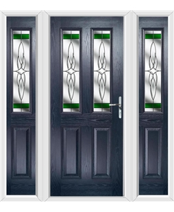 The Cardiff Composite Door in Blue with Green Crystal Harmony and matching Side Panels