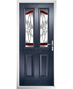 The Birmingham Composite Door in Blue with Red Crystal Harmony