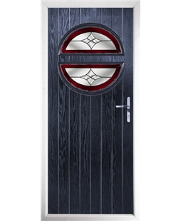 The Queensbury Composite Door in Blue with Red Crystal Harmony