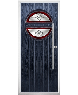 The Xenia Composite Door in Blue with Red Crystal Harmony