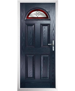 The Derby Composite Door in Blue with Red Crystal Harmony