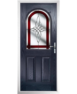 The Edinburgh Composite Door in Blue with Red Crystal Harmony