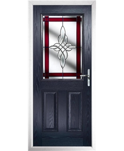 The Farnborough Composite Door in Blue with Red Crystal Harmony