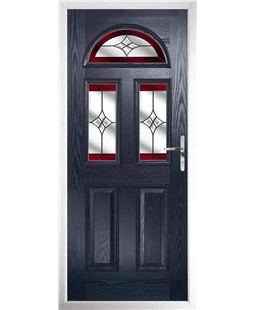The Glasgow Composite Door in Blue with Red Crystal Harmony