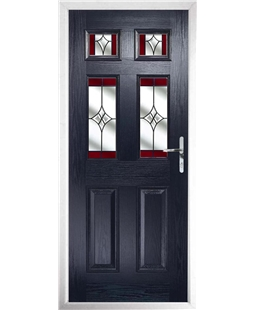 The Oxford Composite Door in Blue with Red Crystal Harmony