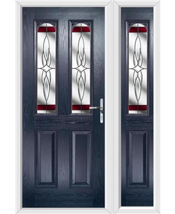 The Aberdeen Composite Door in Blue with Red Crystal Harmony and matching Side Panel