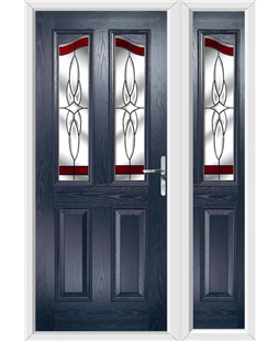 The Birmingham Composite Door in Blue with Red Crystal Harmony and matching Side Panel