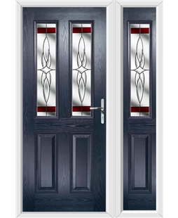 The Cardiff Composite Door in Blue with Red Crystal Harmony and matching Side Panel