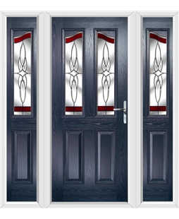 The Birmingham Composite Door in Blue with Red Crystal Harmony and matching Side Panels