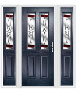 The Cardiff Composite Door in Blue with Red Crystal Harmony and matching Side Panels