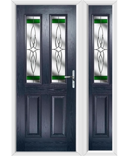 The Cardiff Composite Door in Blue with Green Crystal Harmony and matching Side Panel