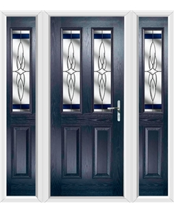 The Cardiff Composite Door in Blue with Blue Crystal Harmony and matching Side Panels