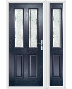 The Cardiff Composite Door in Blue with Diamond Cut and matching Side Panel